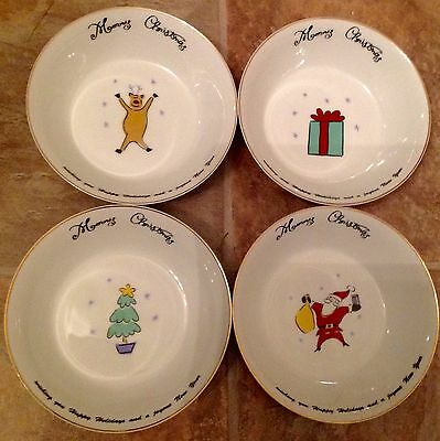 "Merry Christmas  Four Cereal Soup Bowls   6 1/2"" Diameter  By Merry Brite"