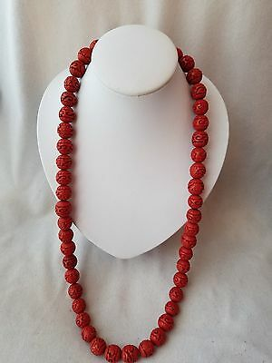 Vintage Chinese Red Cinnabar Lacquer Carved Beads Lotus Flower Art 15-16mm