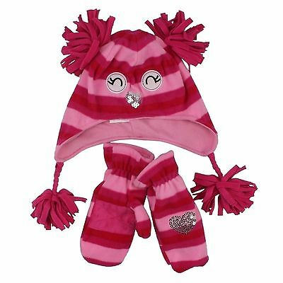 Jumping Beans Pink Small Beanie Hat Gloves 2 Piece Set for Toddler Girls