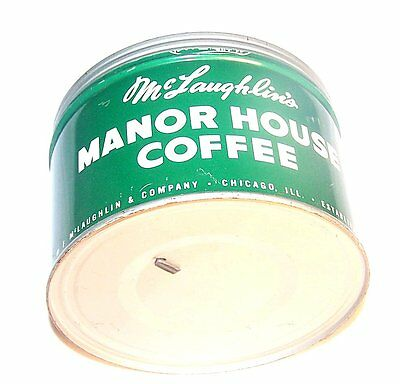 Vintage McLaughlins Chicago Manor House Keywind Coffee Can 1Lb Metal Tin A&P Ofr