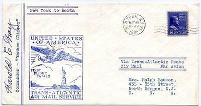 Pan Am First Flight NY to Azores, 1939, signed by Capt. Gray not by LaPorte