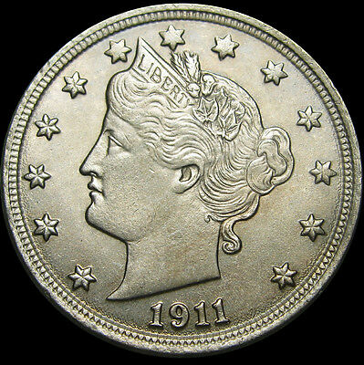 1911 Liberty V Nickel US Coin ---- GEM BU+ ---- #O407