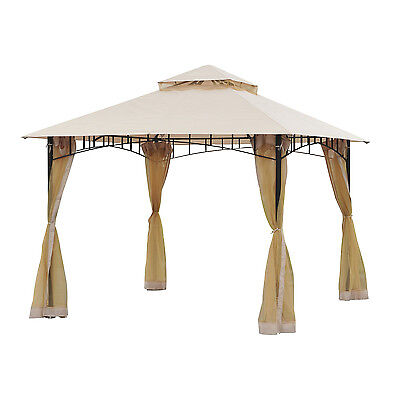 Outsunny Double-tier 10ft×10ft Gazebo Shelter Awning Canopy Outdoor Garden Patio