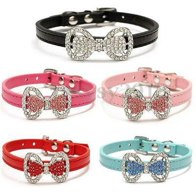 Small Dog Collar Pet Cat Puppy Crystal Rhinestone Bowknot Adjustable PU Leather