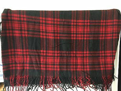 VINTAGE PENDLETON WOOL BLANKET RED BLACK Tartan PLAID Throw