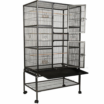 Bird Parrot Cage Chinchilla Cockatiel Conure Large W/Stand & Two Doors