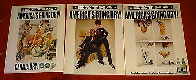 3 CANADA DRY SODA vintage AD ADS  B19  AMERICA IS GOING DRY