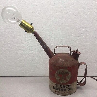 Texaco Motor Oil Can Lamp Unique Homemade Steampunk
