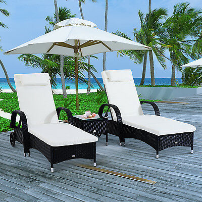 Outsunny 3Pc Rattan Wicker Sofa Patio Sun Lounger Day Bed Recliner Garden Yard