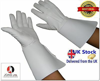 Piper Drummer Leather Gauntlets/Gloves White Soft Leather Knight Templar