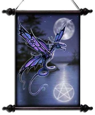 """Anne Stokes Scroll """"dragonfly"""" Purple Flying In Moonlight With Pentagram"""