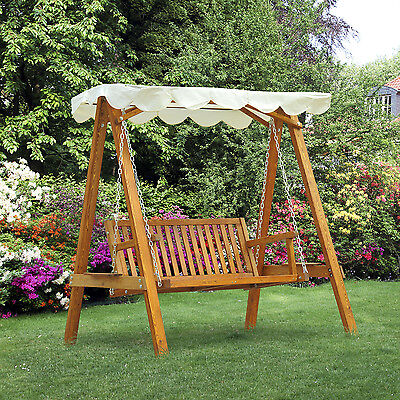 Outsunny Swing Chair Lounger 3-Seater Adjustable-Back Bench Hardwood Porch Yard