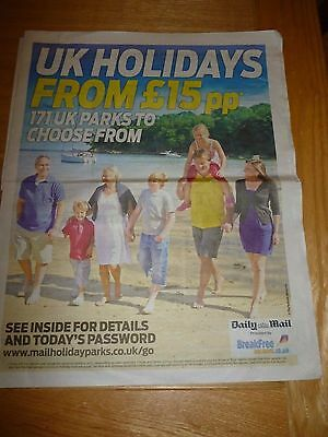 Daily Mail Holidays From £15pp - Booking Form + 5 Tokens / Passwords