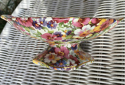 Antique CHINTZ DUBARRY COMPOTE DISH Old Foley James Kent All Over Floral Vintage