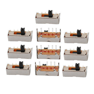 10Pcs 3 Position 4P 1P3T Latching PCB Panel Mount Mini Slide Switch Right Angle