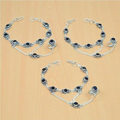 Wholesale 3Pc 925 Silver Plated Sapphire Bracelet-Ring Bridal Hathphoollot