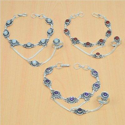 Wholesale 3Pc 925 Silver Plated Amethyst Bracelet-Ring Bridal Hathphoollot