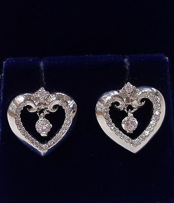 Stone Set Heart Stud Earrings in 9ct White Gold
