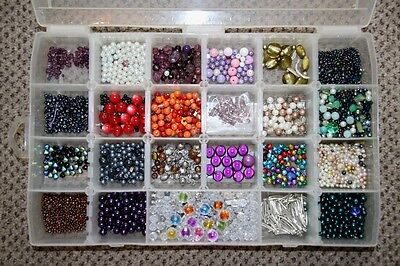 HUGE job lot BEADS Jewellery making assorted in craft box