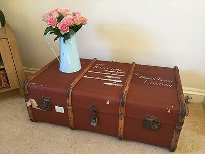 Vintage Bentwood Banded Steamer Trunk Chest For Use As A Coffee Table Rustic