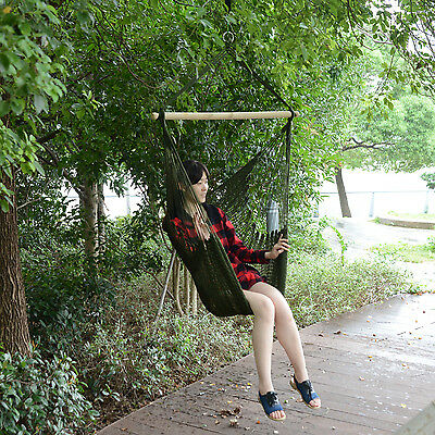 Outsunny Woven Hammock Chair Nylon Hanging Swing Outdoor Patio Air Sky Portable