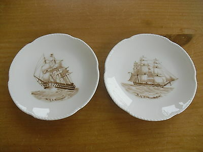 Pair of Spode Pin Dishes Celebrating 19thC Warships - HMS Vindictive & Canopus