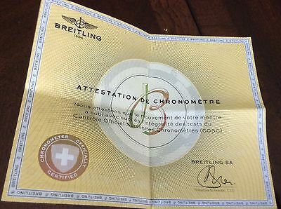Breitling COSC Certificate Of Authenticity