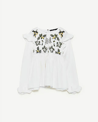 Zara Woman Ss/17 White Shirt With Embroidered Flower Ref.7521/001!new Size S-Xl