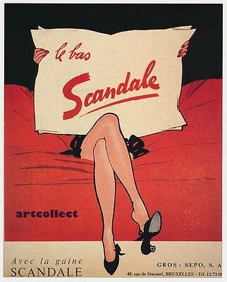 Book Image: Vintage French Stockings Ad by René Gruau c1950. Scandale. Fashion.