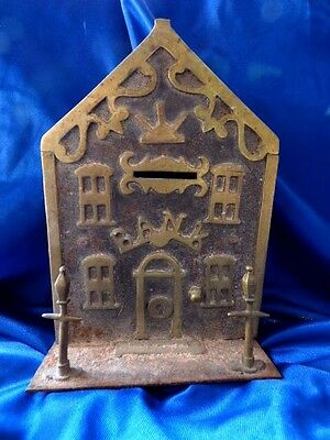 Back Victorian Brass & Iron House Money Box - Bank