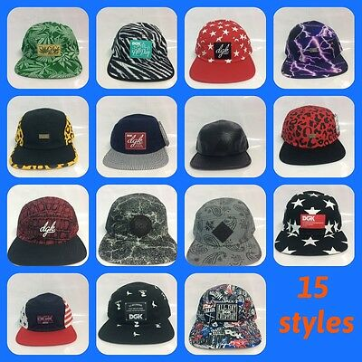 Genuine DGK Sample 5 panel Snapback caps 15 styles new without tags