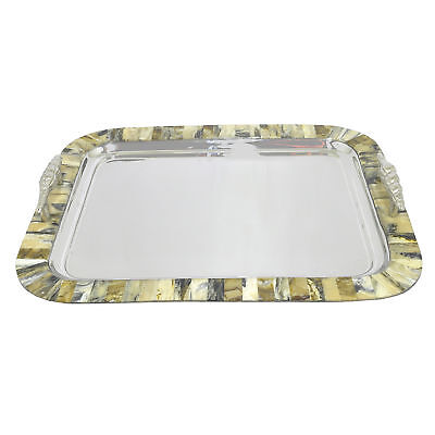 Three Hands Co. Stainless Steel Serving Tray with Marble Look Border