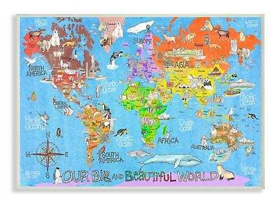 Stupell Industries Our Big Beautiful World Map Wall Plaque