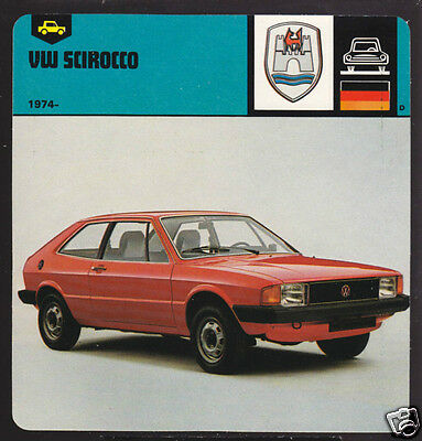 1974-1978 VOLKSWAGEN VW SCIROCCO Car Picture AUTO CARD