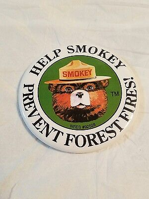 Large Help Smokey The Bear Prevent Forest Fires! Pin Button #A