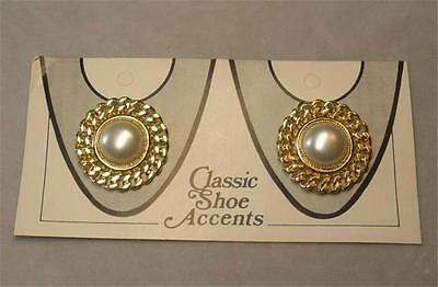 Vintage Gold Plated Faux Pearl Shoe Clips New Old Stock