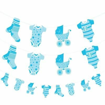 Blue Baby Shower Laundry Banner Boys Party Decorations Jointed Party Bunting
