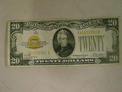 "1928 Gold Certificate Note $20.00  LQQK   ""You Grade It"""