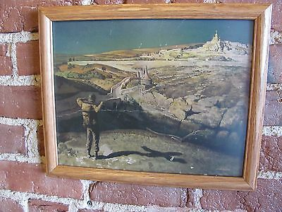 Original US Army GI Christian Bible Themed Religious Illusion Framed Print