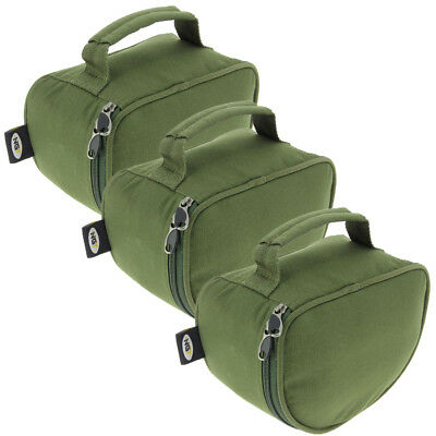 3 x Large Deluxe Green Padded Reel Bag Cases For Carp Pike Sea Fishing NGT