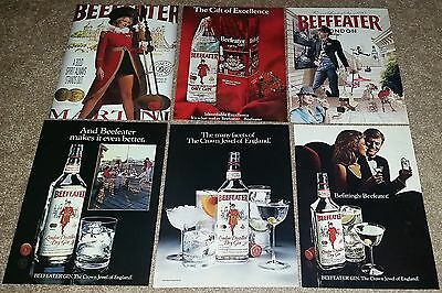 Lot of 24 Beefeater London Distilled Dry Gin Print Ads 1970s to Now 4 Oversized
