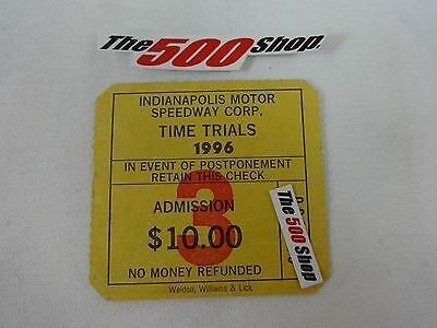 1996 Indianapolis 500 Time Trials Admission Ticket Qualifications Buddy Lazier