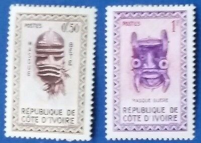 1960 Ivory Coast Masks SG187-188 50c and 1f with gum, mint hinged