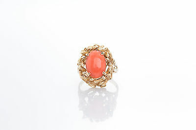 Antique 1940s Natural 7ct CORAL Gem 14k Yellow Gold Ring BIG