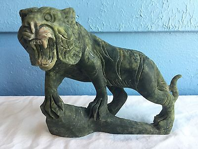 "Vintage Chinese Green Jade Tiger Statue Carving Large 6"" 2+ Pounds Left Face"