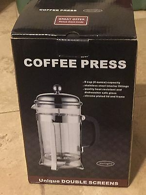 New Sterling Pro French Coffee Press 8 Cup 1 liter-34 oz Chrome 2 Extra Screens