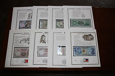 8 World Currency Historic Providence Mint Crisp Unc Banknotes + Stamps Rmc#120