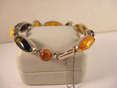 Sterling Silver 925 Poland Multi Color Baltic Amber Safety Chain Link Bracelet