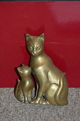 vintage style brass cat with kitten ornament 16.5CM TALL APPROX