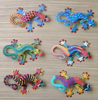 "Hand Painted Set Of 6 Wall Hanging Geckos Each Gecko Is 8"" Wide"